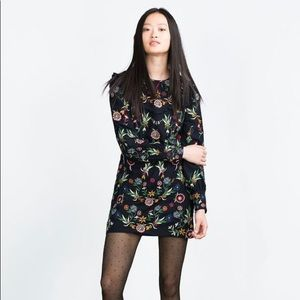 Zara embroidered black lace dress m
